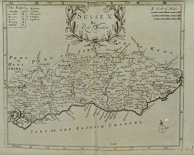 Robert Mordens's Map of Sussex